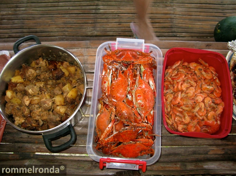 Pork Adodo, Steamed Crab and Shrimp